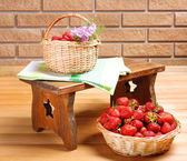 Fresh berries in baskets — Stock Photo