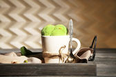 Tasty pistachio ice cream — Stock Photo