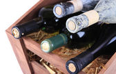 Bottles of wine in wooden box — ストック写真