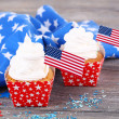 American patriotic holiday cupcakes — Stock Photo #50017315