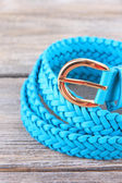 Blue leather belt — Stock Photo