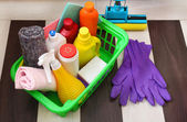 Collection of cleaning products — Stock Photo