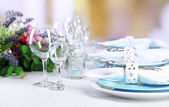 Dining table setting with lavender flowers — Stock Photo