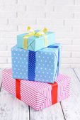 Beautiful gifts on table — Foto de Stock