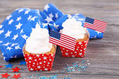 American patriotic holiday cupcakes — Zdjęcie stockowe