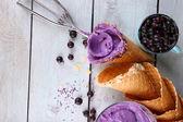 Tasty ice cream with berries — Stock Photo