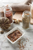 Different sea salt in bottles — Stockfoto