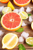 Different sliced juicy citrus fruits — Stockfoto