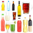 Collage of different drinks isolated on white — Stock Photo #50088983