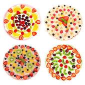 Collage aus verschiedenen pizza isoliert auf weiss — Stockfoto