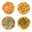Collage of different pizza isolated on white — Stock Photo #50212975