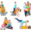 Set photos of happy families isolated on white — Stock Photo #50213543