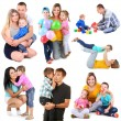 Set photos of happy families isolated on white — Stock Photo #50213555