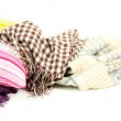 Plaids and color pillows, isolated on white — Stock Photo #50214273