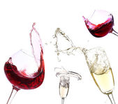 Glasses with red wine and champagne, isolated on white — Stockfoto