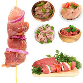 Collage of raw meat isolated on white — Stock Photo