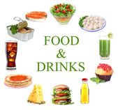 Food and drinks collage isolated on white — Stock Photo