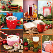 Christmas drinks collage — 图库照片