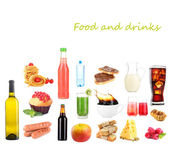 Food and drinks collage — Stock Photo