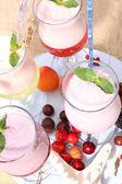 Delicious milkshakes, close-up — Stock Photo