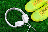 Sport  shoes and headphone — Stock Photo