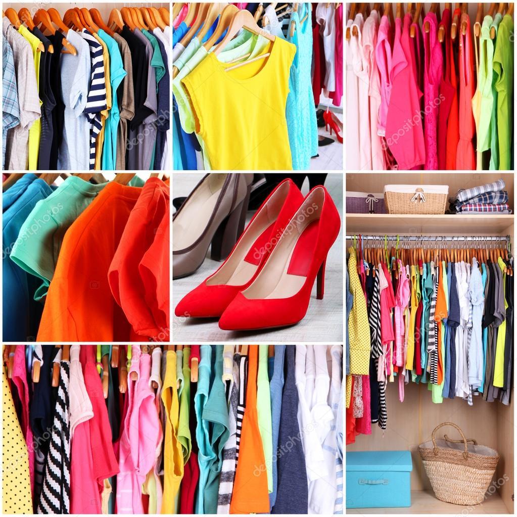 Armario con ropa collage fotos de stock belchonock - Ideas para ropa ...