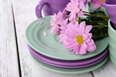 Cups and saucers with flowers — Foto de Stock