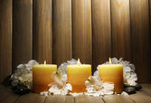 Belles bougies avec des fleurs — Photo