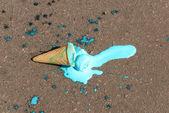 Ice cream fell on asphalt — Stock Photo