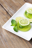 Green jelly with mint — Stock Photo