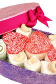 Tasty Turkish delight in box — Stock Photo