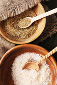 Different sea salt in bowls — Stock Photo