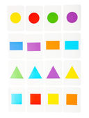 Educational cards with color geometric shapes, close up — Stockfoto