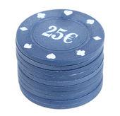 Chips for poker on white — Stock Photo