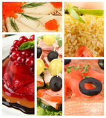 Collage of delicious food close-up — Foto Stock