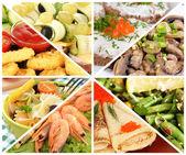 おいしい食べ物のクローズ アップのコラージュ — ストック写真