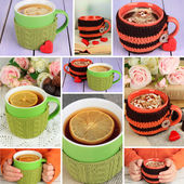 Collage of cups with knitted thing on it close up — Stock Photo