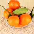 Sweet tangerines with leaves — Stock Photo #50443053