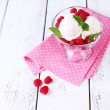 Creamy ice cream with raspberries — Stock Photo #50444691
