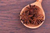 Spoon with beautiful anise — Foto Stock