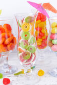 Fruit candies in glasses — Foto Stock