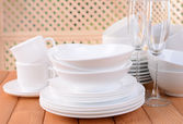 Set of white dishes — Stock Photo