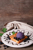 Belgian waffles with ice cream — Foto Stock