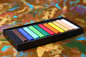 Colorful chalk pastels in box — Stock Photo