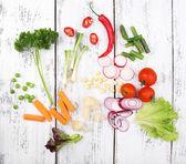 Diversi tipi di verdure crude — Foto Stock