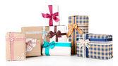 Gift boxes on white — Stock Photo