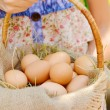 Eggs in wicker basket — Stock Photo #50545637