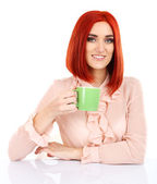 Young beautiful business woman holding cup isolated on white — Stock Photo