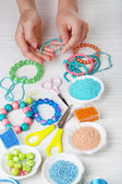 Creating costume jewelry — Stock Photo