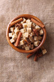 Brown sugar cubes — Stock Photo